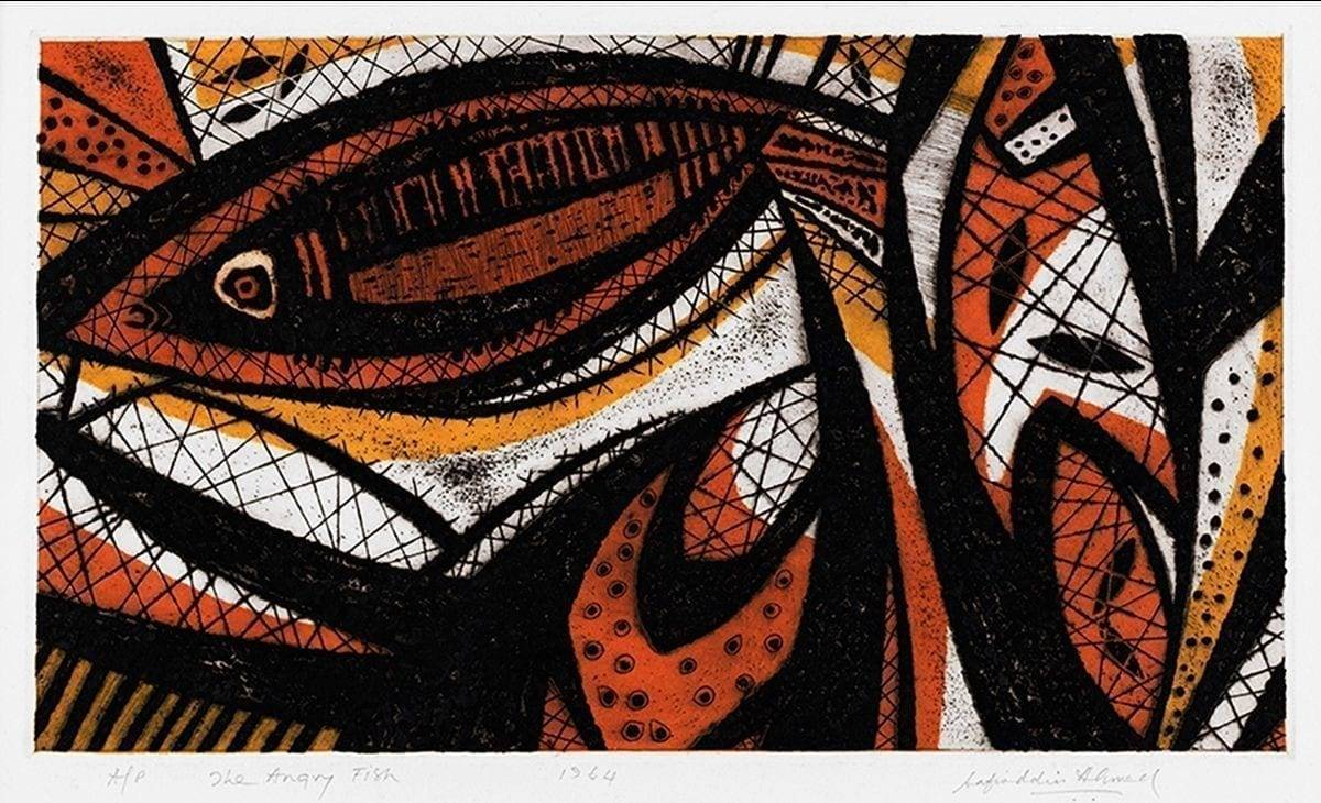 Safiuddin Ahmed, The Angry Fish (1964), etching and aquatint, 26 x 46 cm. Image courtesy of Ahmed Nazir.