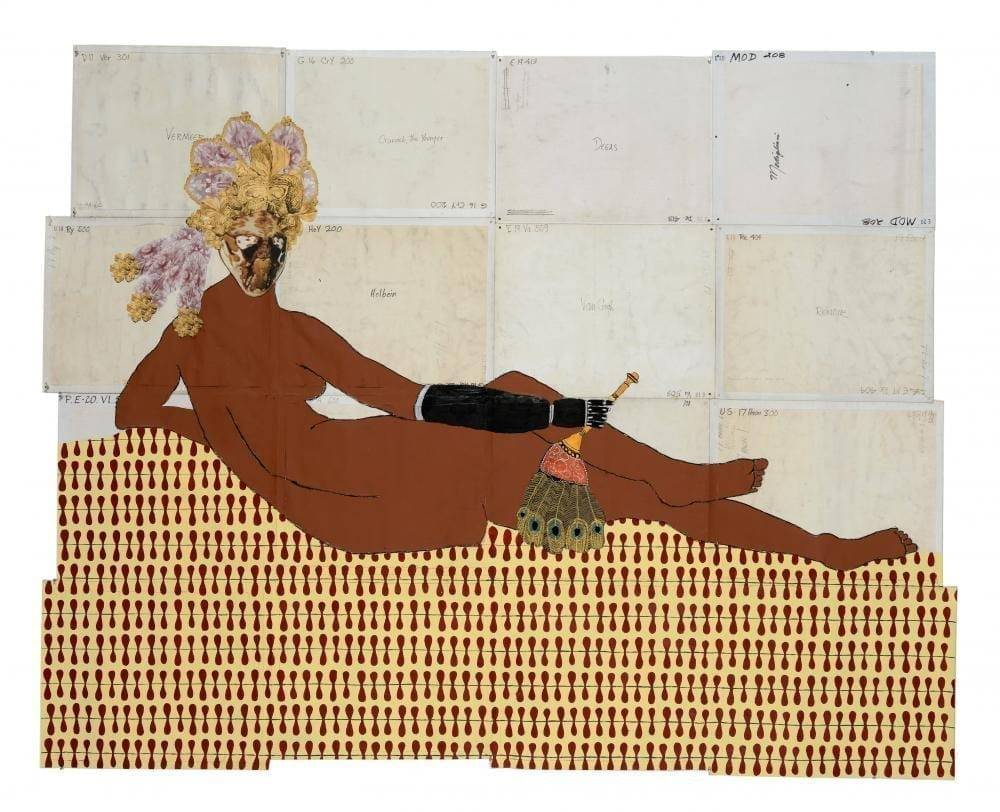Katherine Sherwood, After Ingres, 2014. Acrylic, collage and mixed-media on recycled linen, 84 x 105 inches.