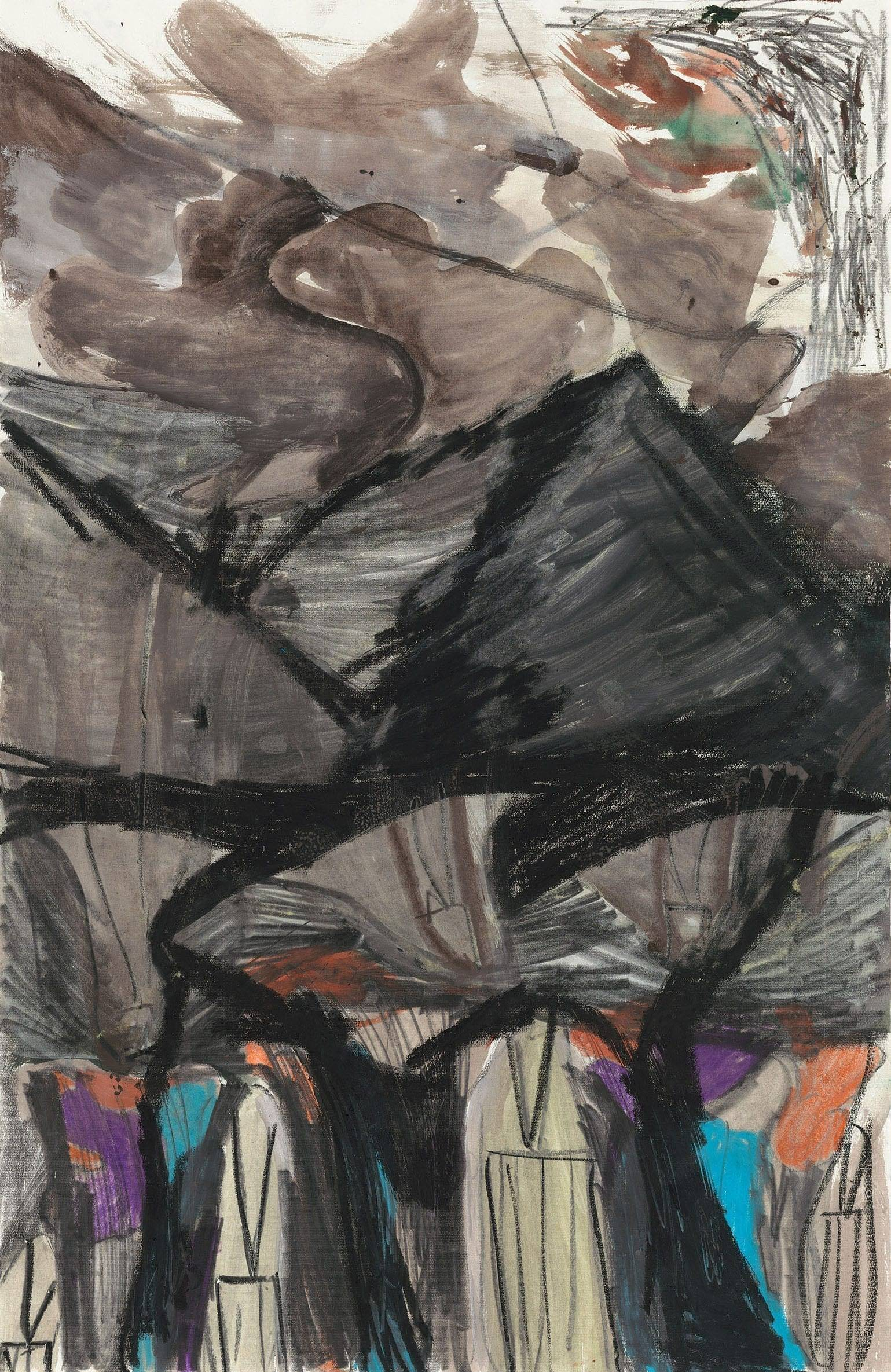 "Per Kirkeby, ""Untitled"", ca. 1988-1994 Pencil, charcoal, pastel, gouache on paper, 39 1/2 x 25 1/2 inches (100.5 x 65 cm)"