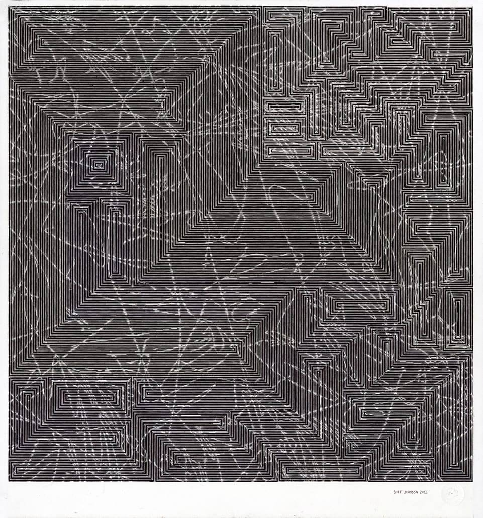 The Clustering Illusion, 2013, Ink on paper, 20 ½ x 20 inches, image courtesy of the artist and Talley Dunn Gallery