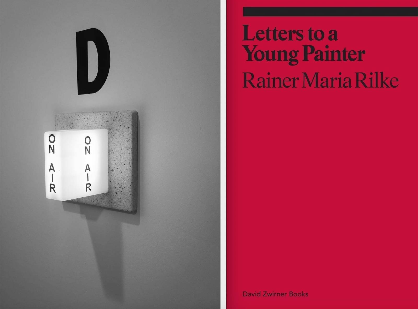 From Left to Right: Image of Podcast Recording Studio © Justyna Fedec. Cover of Letters to a Young Painter by Rainer Maria Rilke, published by David Zwirner Books.