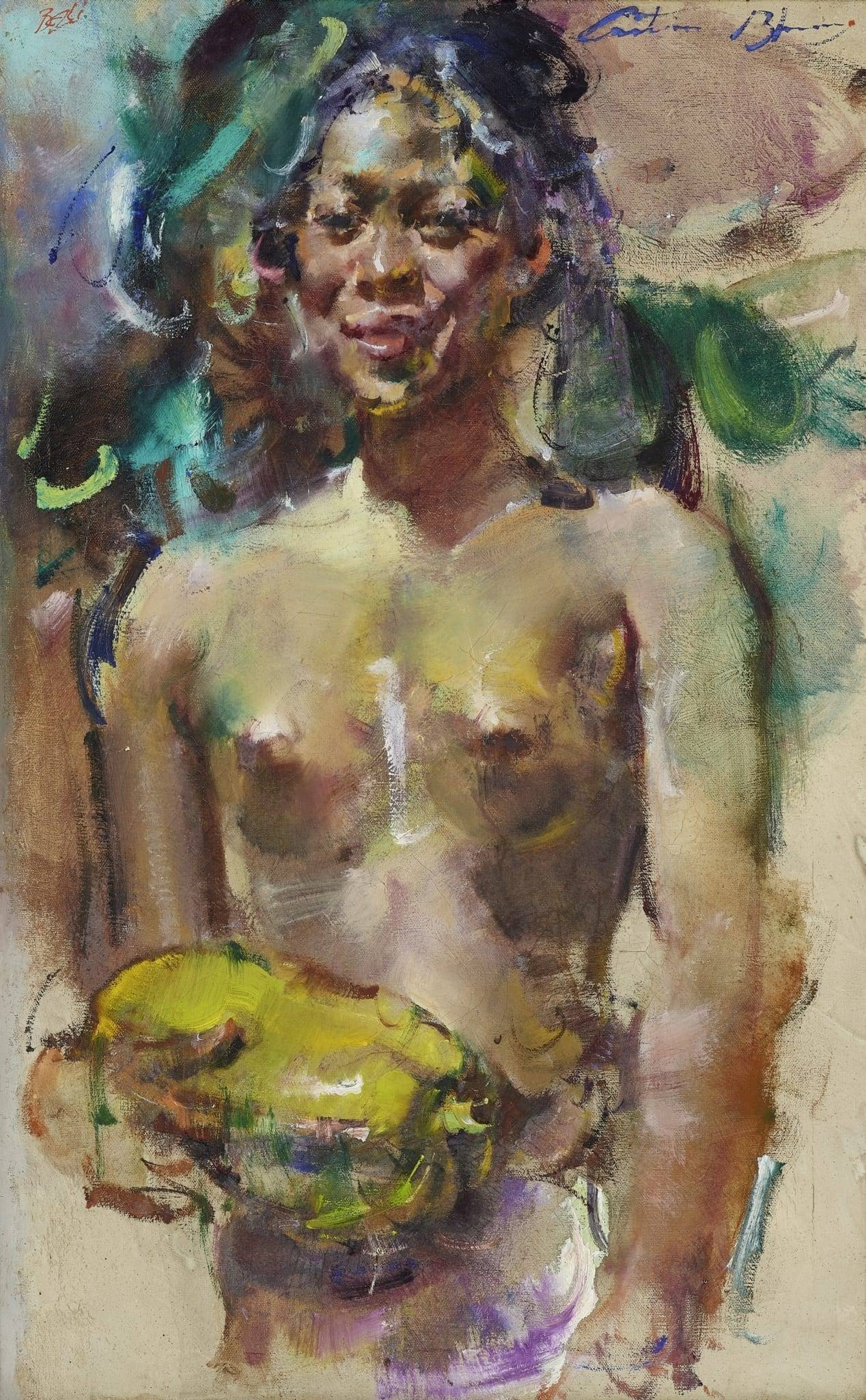 Antonio Blanco (American-Indonesian, 1912-1999) Woman Bearing Fruit (link) 1970s, oil on canvas 41 x 32 cm Estimate: HK$ 240,000 – 380,000