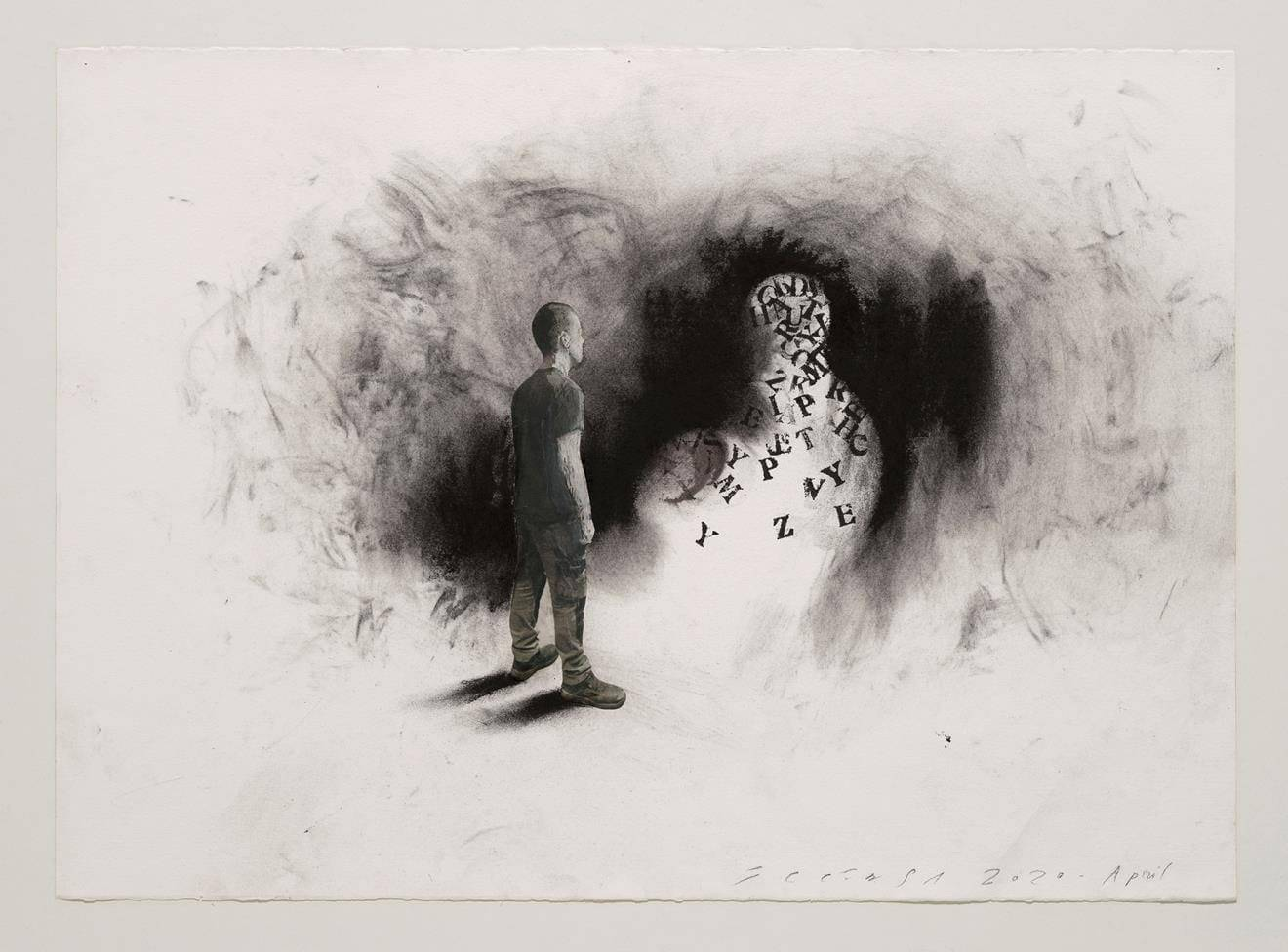 Jaume Plensa, STILL 04, 2020. Mixed media on paper, 20 x 27.5 inches (51 x 70 cm).