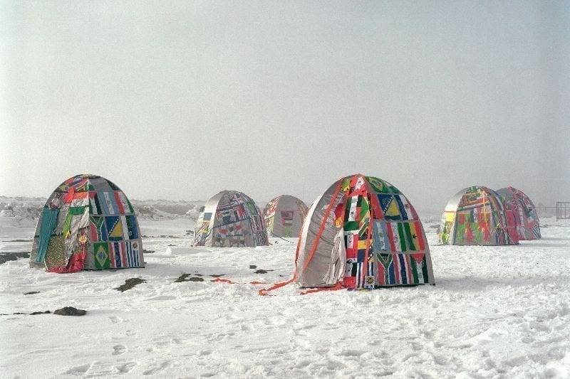 Lucy + Jorge Orta, Antarctic Village - No Borders, 2007. Ephemeral installation of Antarctic Village, North, South East and West villages across the Antarctic Peninsula from March to April 2007, various dimensions. Image courtesy of Lucy + Jorge Orta. Photo Thierry Bal / ADAGPPress