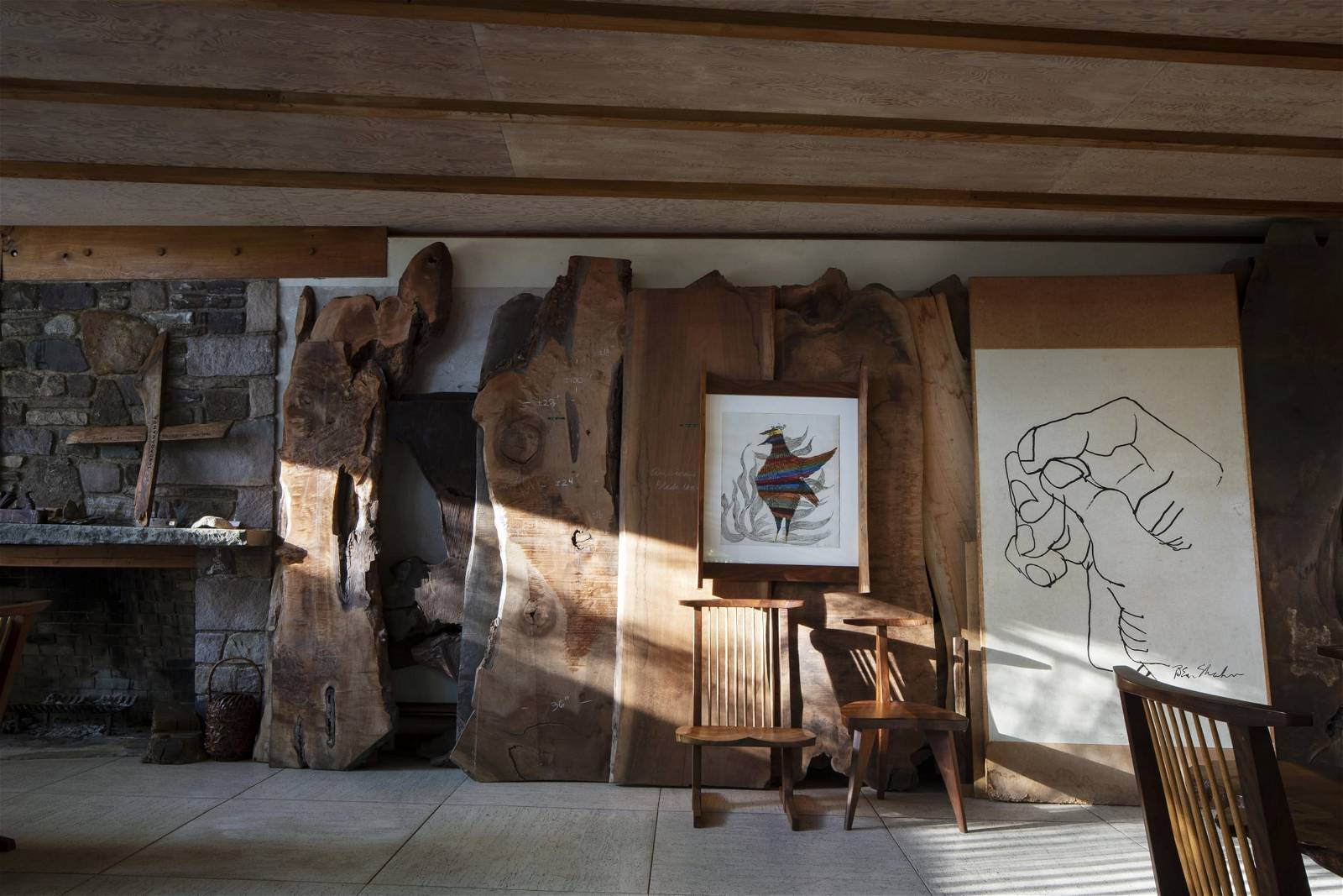 George Nakashima Woodworker's interior, Photo by Elizabeth Felicella, Courtesy of the Japan America Society of Greater Philadelphia