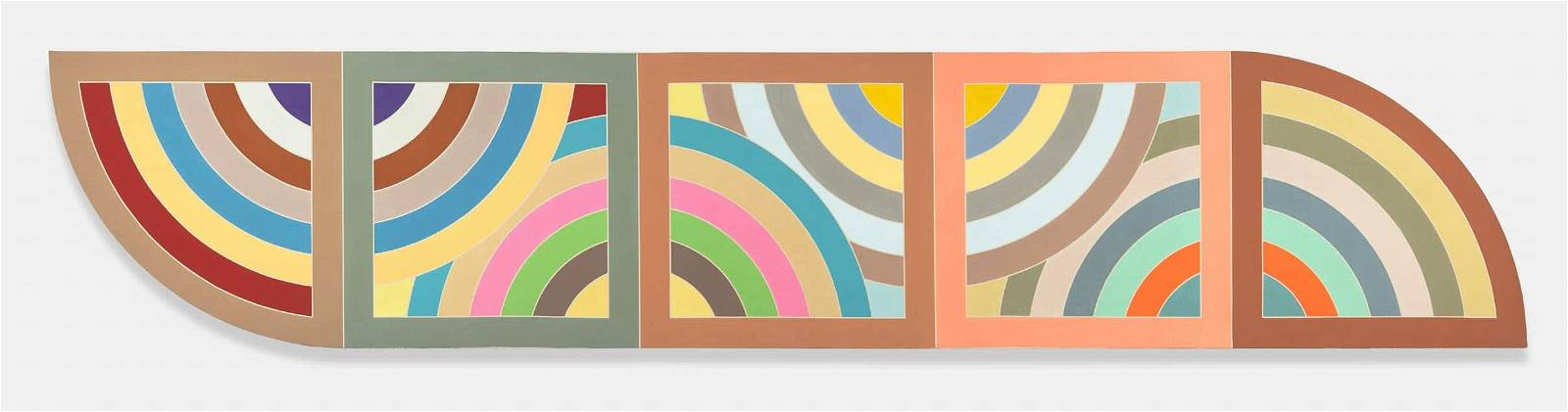 Frank Stella, Damascus Gate, Stretch Variation II, Half Size, 1969, Acrylic on canvas, 60 by 300 inches (152.4 x 762 cm), courtesy of Edward Tyler Nahem