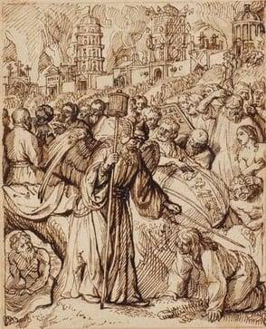 Rembrandt School (Dutch, 17th Century), The Angel Saves Lot and His Family, c. 1660. Pen and brown ink on buff paper, red chalk framing lines. 159 x 129 mm.