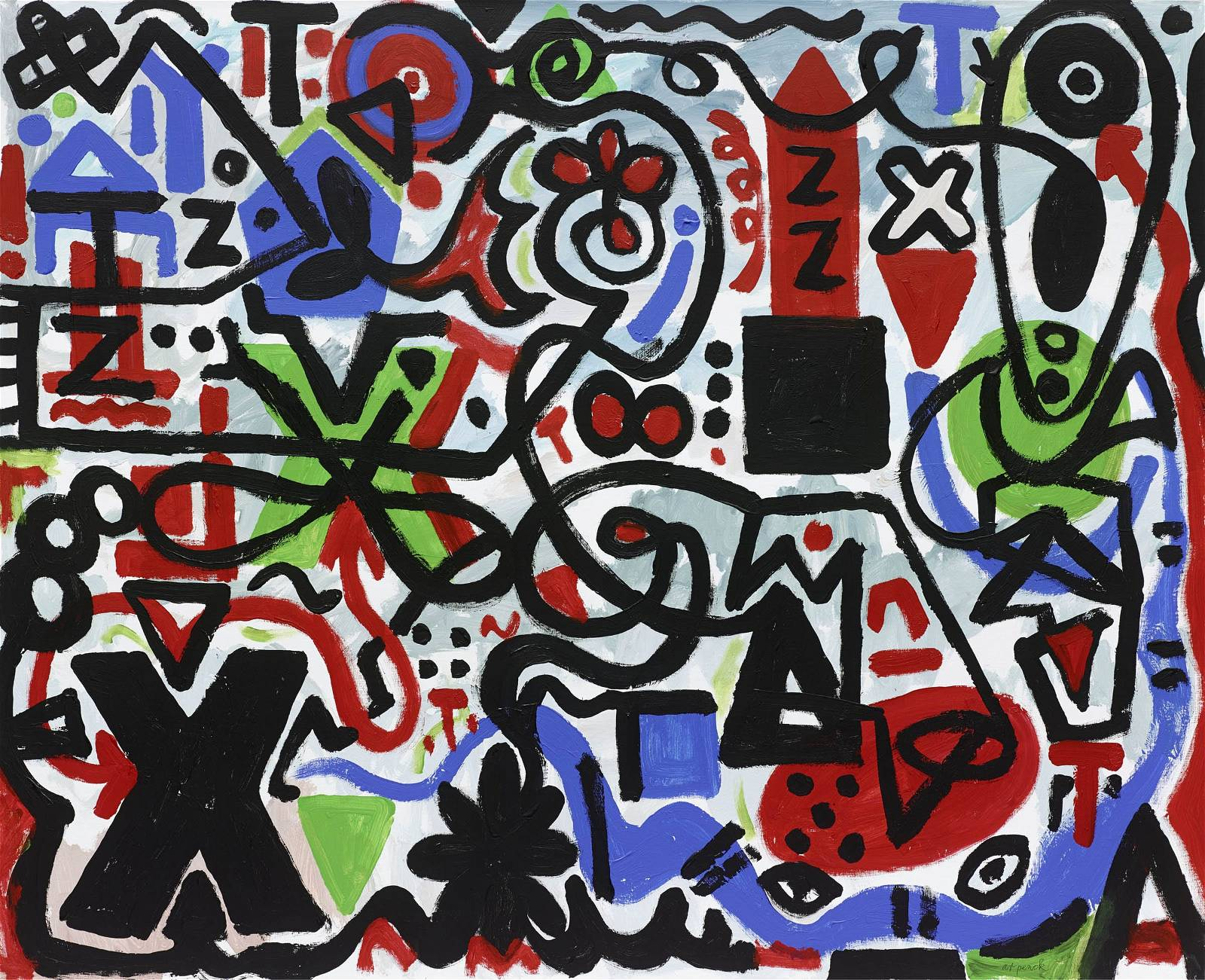 "A.R. Penck, ""Ungewissheit (Uncertainty)"", 2011. Acrylic on canvas, 51 1/4 x 63 inches (130 x 160 cm)"