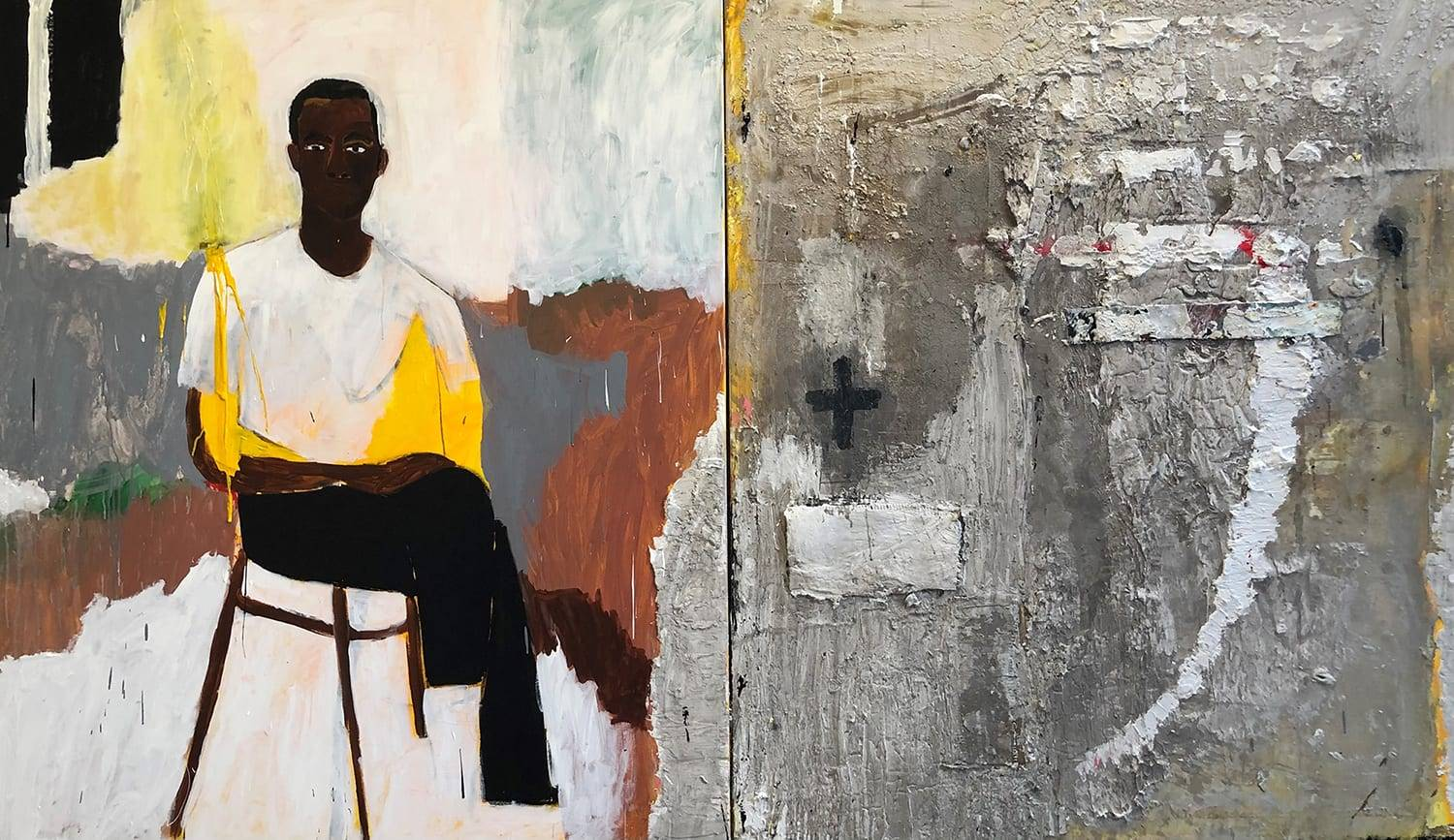 "Patrick Eugene, You Ask About The Scars (2020) 72""x120"" Mixed media on canvas, Courtesy of the artist and Gallery 1957"