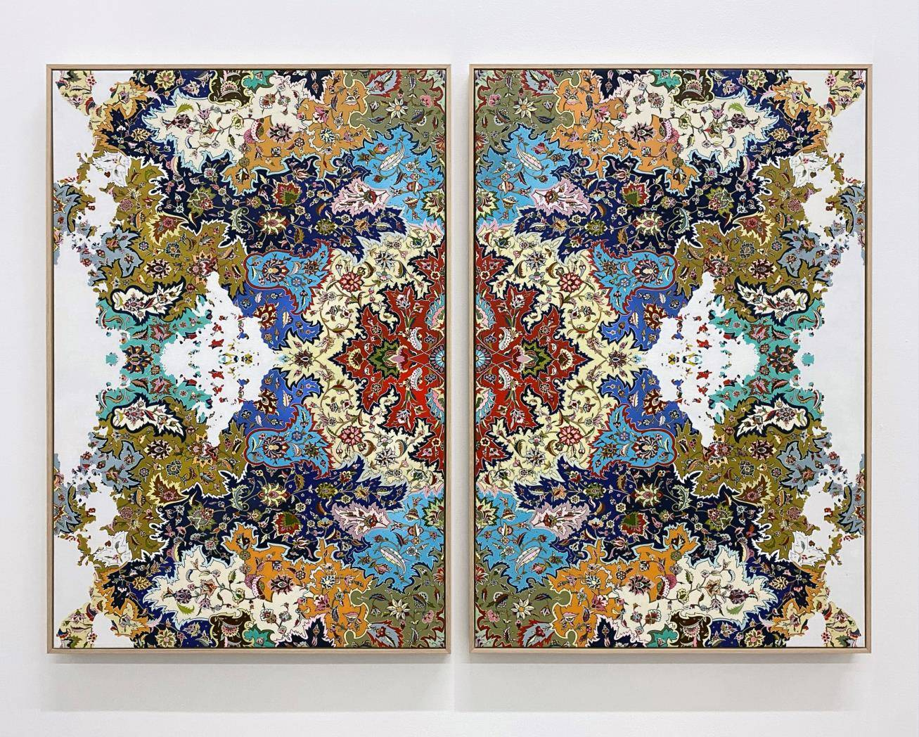 Jason Seife, Circle Takes the Square , 2020 , Oil and acrylic on canvas , 96.5 x 66 cm each, 96.5 x 142 cm total , courtesy the artist and Unit London