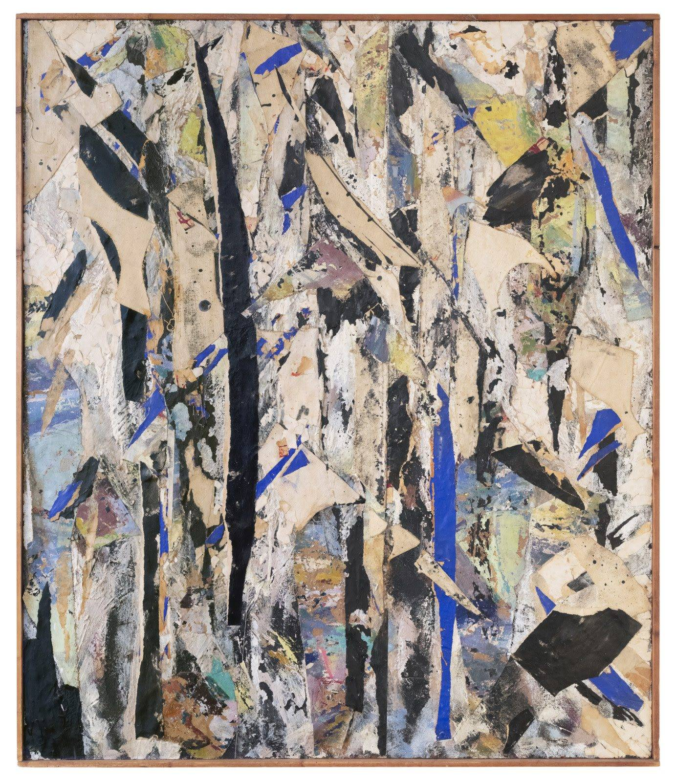 Lee Krasner, Untitled, 1954, oil, glue, canvas and paper collage on Masonite, 48 x 40 inches, 122 x 102 cm. © 2021 Pollock-Krasner Foundation / Artists Rights Society (ARS), New York. Private Collection, New York City.