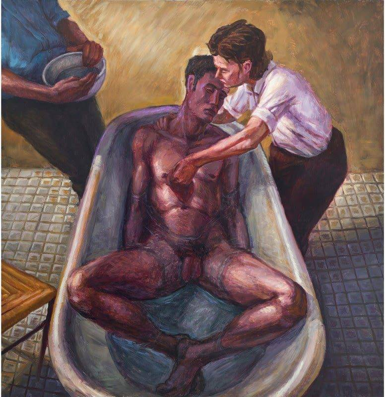 Hugh Steers, Two Men and a Woman, 1992, oil on canvas, 60h x 57w in (152.4h x 144.78w cm). Courtesy Alexander Gray Associates, New York, © Estate of Hugh Steers.