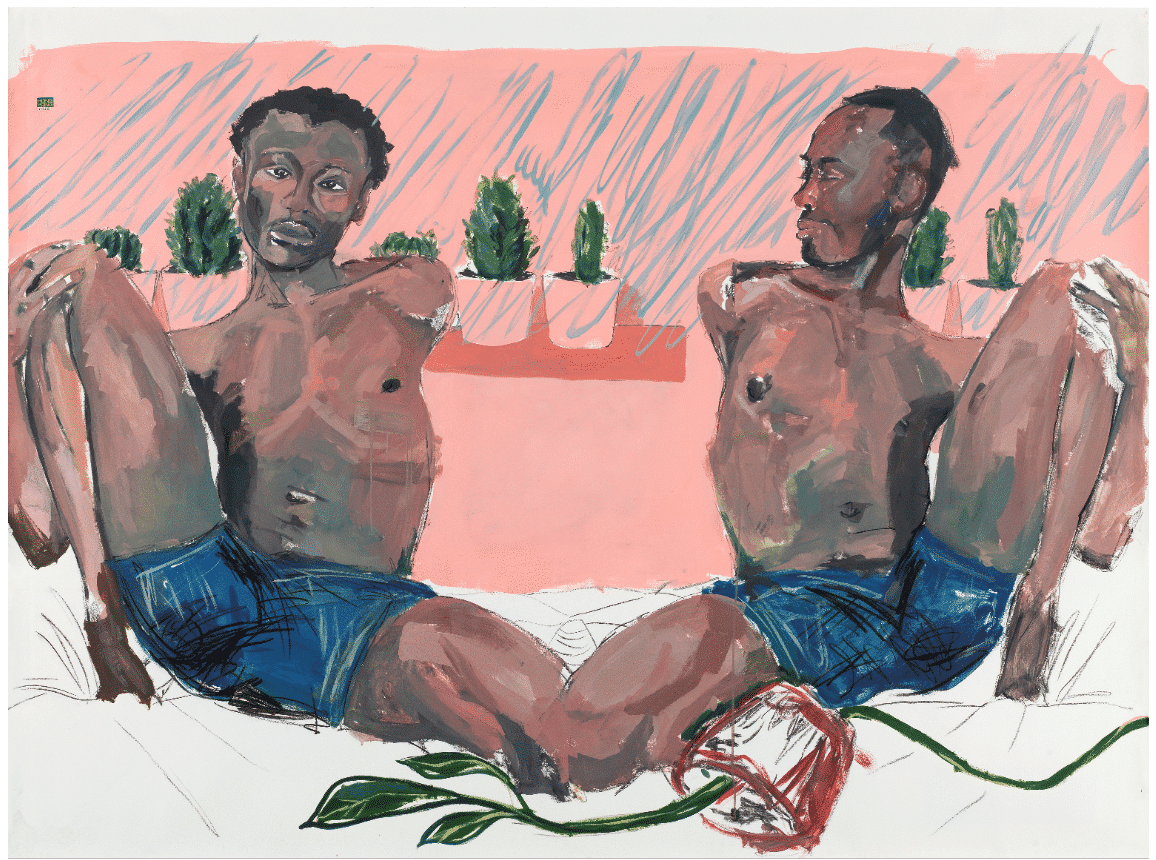 Kudzanai-Violet Hwami (Zimbabwean, born 1993), Adam and Steve joined by the knee, a study. Estimate: £30,000 - 50,000.