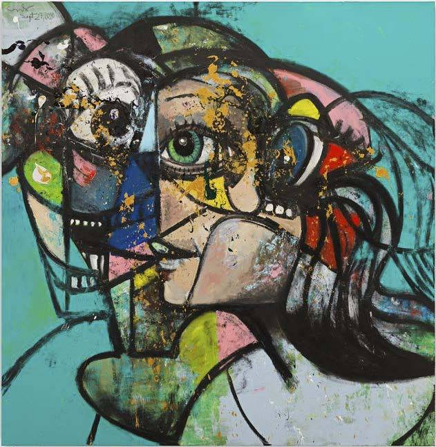 George Condo, Up Against The Wall, 2020 Acrylic, pigment stick and metallic paint on linen 208.3 x 203.2 x 3.5 cm / 82 x 80 x 1 3/8 in © George Condo. Photo: Genevieve Hanson