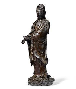 A Rare and Large Silver-Inlaid Bronze Figure of Guanyin, 16th/17th Century. Estimate: HK$3,500,000-4,500,000